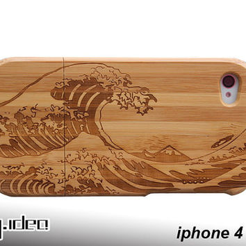 Mymade natural bamboo iphone 4 4s case, spray bamboo iphone 4 4s case, wood case, iphone cover, gift, iphone4 case, iphone4s case
