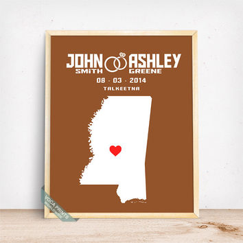 Mississippi Map Print, Wedding Print, Anniversary Gift, State Art, Wall Decor, Wedding Decor, Home Decorations, Mothers Day Gift