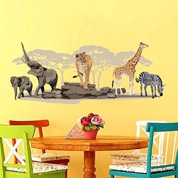 Zebra Wall Decals Elephant Full Color Safari Decal Giraffe Colorful African Safari Tree Animals Africa Kids Children Nursery Baby Room Wall Vinyl Decal Stickers Bedroom Murals