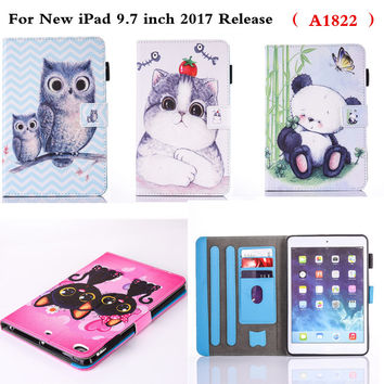For New iPad 9.7 2017 Release A1822 Tablet Case Protective Cover Shell PU Leather With Silicone Soft TPU Cute Drop Resistance