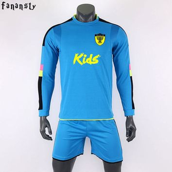 Survetement football 2017 soccer jersey kids custom boys football jersey long Sleeve goalkeeper uniforms youth football set new