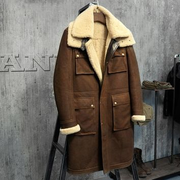 Luxury X-Long Military Style Men's Shearling Fur Parka. Australia Sheepskin Jacket