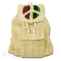 Rasta Peace Sign Hemp Backpack @ RastaEmpire.com
