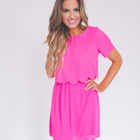 Short Sleeve Scallop Trim Dress- Fuchsia