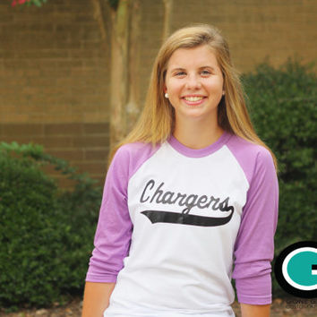 CUSTOM School Spirit Mascot Baseball T-Shirt -- Great way to show off your School Mascot!