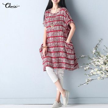 2018 Celmia Women Retro Striped O Neck Short Sleeve Vintage Linen Dress Casual Loose Pockets Summer Short Vestidos Plus Size