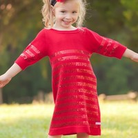 RuffleButts | Red Sequin Sweater Dress