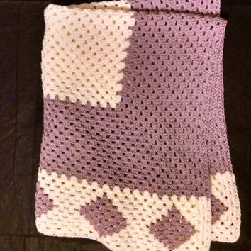 Hand crocheted Lavender and Cream Diamond Edged Baby Afghan