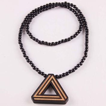 Wooden Trilateral Pendant Necklace