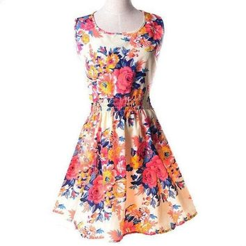 2015 New Spring Summer Autumn Fashion Women Casual Bohemian Dress Floral Print Sleeveless Vest Chiffon Beach Dresses NXH01011 = 5738874497
