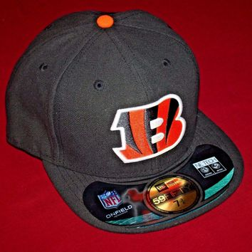 CINCINNATI BENGALS NEW ERA HAT 59Fifty FITTED 7 3/4 CAP ADULT NFL ON-FIELD GAME
