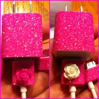 iPhone Charger customized glitter charger by glitzznglam on Etsy