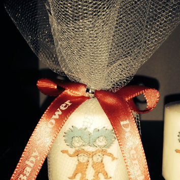30 Baby Shower Favors, Thing one and thing two, Dr Seuss themed Favors, Baptism , Holy Communition Favors, Votive With Personalized Ribbon