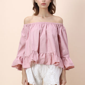 Flowy Delight Off-shoulder Top in Pink