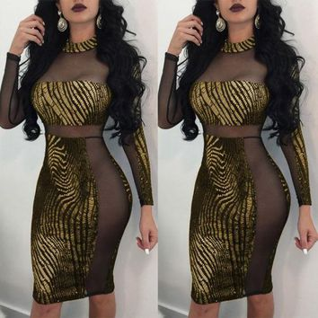 Fashion Women Mesh Dresses Gold Print Short Mini Dress Bandage Bodycon Perspective Patchwork Sexy Casual Sleeveless
