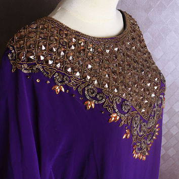 Very Fancy Purple Sheer Chiffon Kaftan Moroccan Gold Embroidery Dubai Abaya Caftan Maxi Dress - Fit to 8 10 12 14 16 UK size