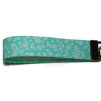 Mint flower wristlet key fob, wristlet keychain, key lanyard, wrist key chain, teacher gift, gift under 10, fabric key fob, pretty key fob