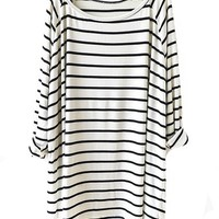 Sheinside Women's White Black Striped Loose T-Shirt (One Size, White)