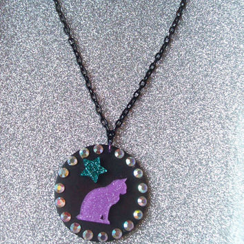 Glam Witch - Glitter Cat and Star Necklace