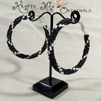 Black and White Matte Finish Twist Beadwoven Stainless Steel Hoops