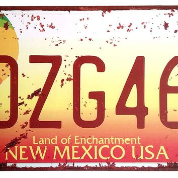 ERLOOD Metal Tin Sign Plaque Vintage Retro Home bathroom Bar Wall Decor Car Vehicle License Plate Souvenir NEW MEXICO DZG465 Embossed Tag Size 6 X 12