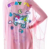 UNIF Stay Fly Kimono Pink