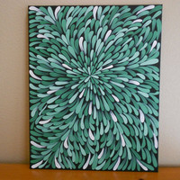 Painting Green Aboriginal Inspired 16 x 20 by Acires on Etsy