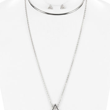 2 pc Triangle Necklace and Earring Set