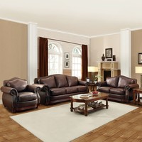 HomeVance Hillcrest 3-piece Living Room Set (Brown)