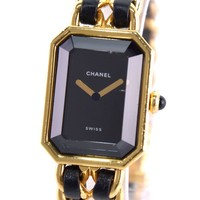 AUTHENTIC CHANEL Première L Watches gold leather/Gold plating Women blackDial