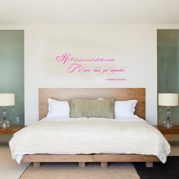 Housewares Marilyn Monroe Quote Wall Vinyl Decal Sticker If I'd observed all the rules I'd never have got anywhere V280