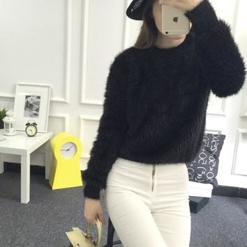 New Winter Casual Sweater Women Long Sleeve Loose Thick Turtleneck Pullovers Female Solid Mohair Ladies' Sweater Coat
