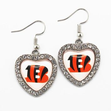 Cincinnati Bengals Football Team Crystal Glass Heart Long Earrings Charms 6pairs/lot For Women Sports Earring Jewelry