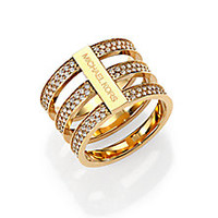 Michael Kors - Motif Pavé Bar Three-Row Ring/Goldtone - Saks Fifth Avenue Mobile