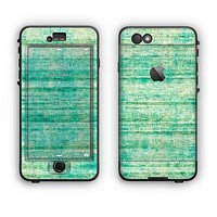 The Grungy Horizontal Green Lines Apple iPhone 6 Plus LifeProof Nuud Case Skin Set