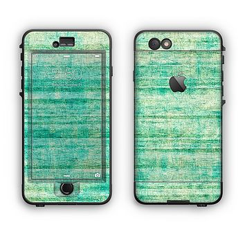 The Grungy Horizontal Green Lines Apple iPhone 6 LifeProof Nuud Case Skin Set