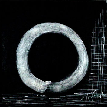 Abstract  minimalist painting in Black and White,Title:The Enso of Zen no.1 , 27.5x27.5 inch,MADE TO ORDER