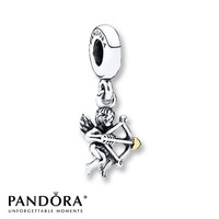 Pandora Dangle Charm Cupid Sterling Silver/14K Gold