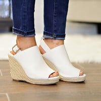 *  Bella Marie Wedge Sandal: White