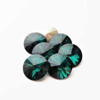 Six Emerald 1122 12mm Foiled Swarovski Pointed Back Rivoli DKSJewelrydesigns