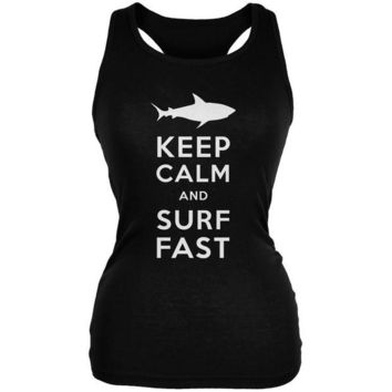 LMFCY8 Shark Keep Calm and Surf Fast Black Juniors Soft Tank Top