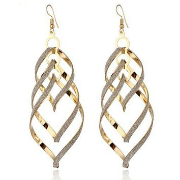 Gold and Glitter Long Spiral Earrings