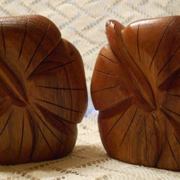 Vintage Hand Carved Wooden Salt and Pepper Shakers