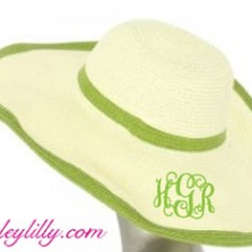 Monogrammed Double Lime Outline Floppy Hat