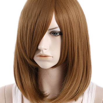 Natural Brown Side Parting Heat-resistant Fiber Medium Wig