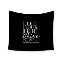 """Noonday Design """"Let Your Light Shine"""" Black White Wall Tapestry"""
