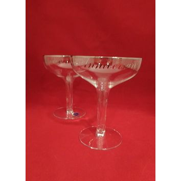 Hollow Stemmed 25th Anniversary Champagne Coupes
