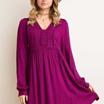 Lace Trim Plum Dress