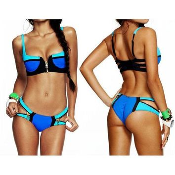 VONE055 ZIPPER BIKINI SWIMWEAR