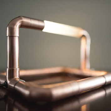 Copper LED Pipe Lamp • The Rhino • Copper Pipe • Desk Lamp • Accent Lighting • Pipe Light • LED • Artistic Lamp